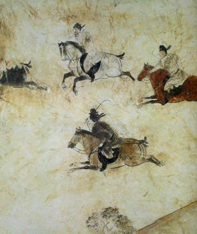 图为唐章怀太子墓壁画 打球图 局部显示唐代马球运动的真...